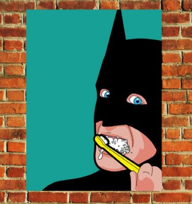 Quadro Decorativo Mdf - Batman Escovando Dente (20x30)
