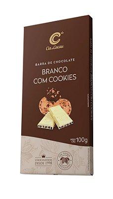 BARRA CHOCOLATE BRANCO COM COOKIES CIA DO CACAU 100g