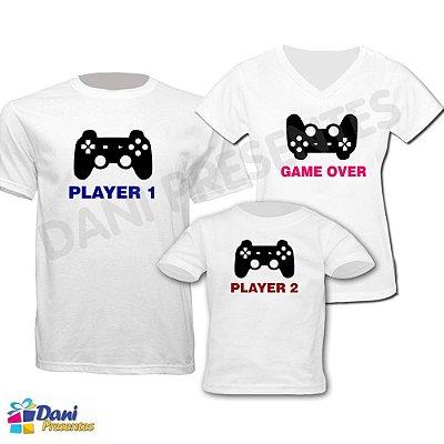 Camiseta Player 1, Player 2 e Game Over - 100% algodão