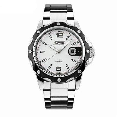 Relógio Masculino Skmei Analógico 0992 Prata e Branco
