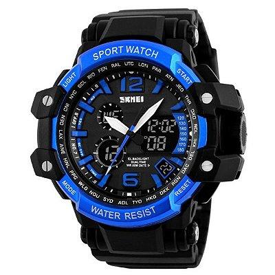 Relógio Masculino Skmei Anadigi 1137 Preto e Azul