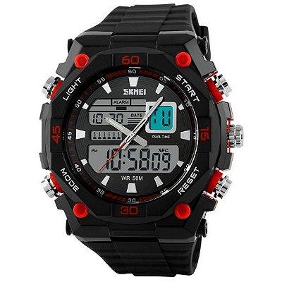 Relógio Masculino Skmei Anadigi 1092 Preto e Vermelho