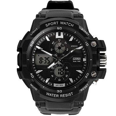 Relógio Masculino Skmei Anadigi 0990 Preto e Branco