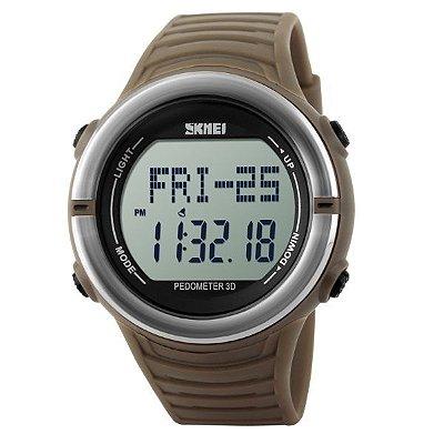 Relógio Pedômetro Masculino Skmei Digital 1111 Marrom e Prata