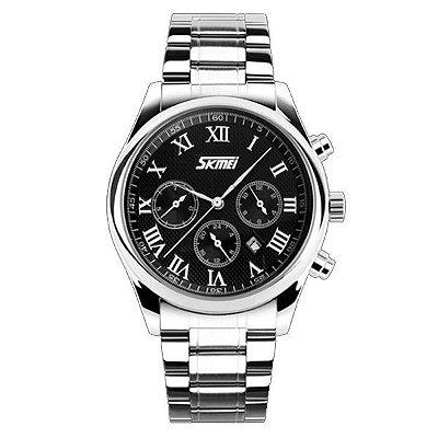 Relógio Masculino Skmei Analógico 9078 Prata e Preto
