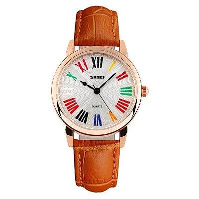 Relógio Feminino Skmei Analógico 1084 Laranja