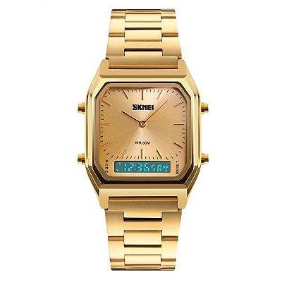 Relógio Feminino Skmei Anadigi 1220 Dourado