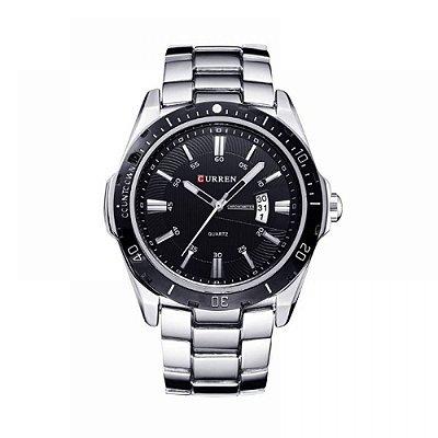 Relógio Masculino Curren Analógico 8110 Prata e Preto