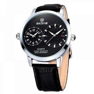 Relógio Masculino Skone Analógico Casual 9142 Preto