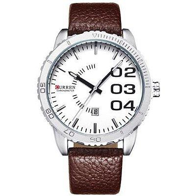 Relógio Masculino Curren Analógico 8125 Marrom e Branco