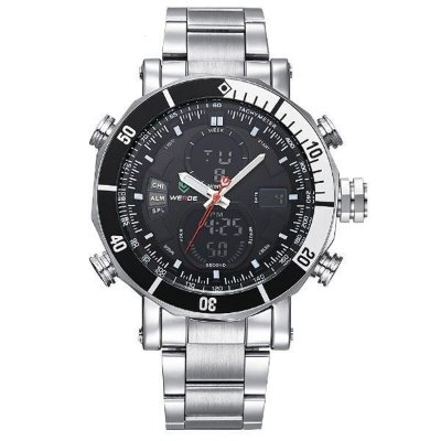 Relógio Masculino Weide Anadigi WH-5203 Prata e Preto
