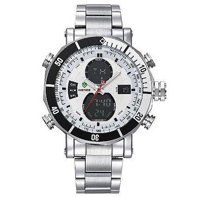 Relógio Masculino Weide Anadigi WH-5203 Prata e Branco