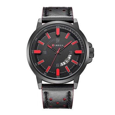 Relógio Masculino Curren Analógico 8228 Preto e Vermelho