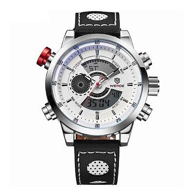 Relógio Masculino Weide Anadigi WH-3401-C Prata e Branco