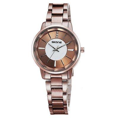 Relógio Feminino Skone Analógico Casual Bronze 9153G