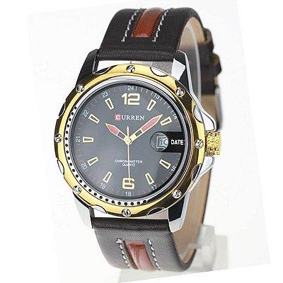 Relógio Masculino Curren Analógico Casual 8104 Preto e Dourado
