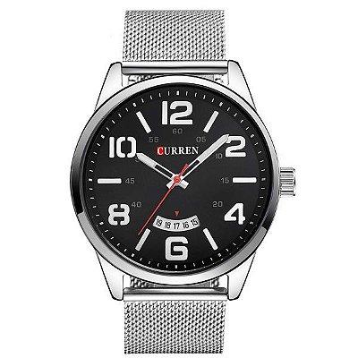 Relógio Masculino Curren Analógico 8236 Preto e Prata