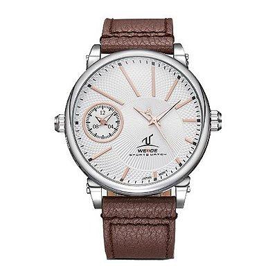 Relógio Masculino Weide Analógico UV-1508 Branco e Marrom