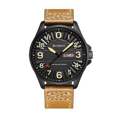 Relógio Masculino Curren Analógico 8269 Preto e Bege