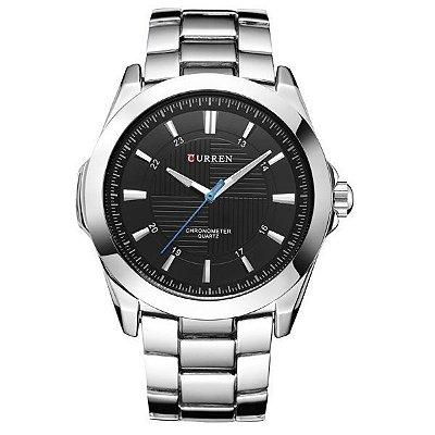Relógio Masculino Curren Analógico 8109 - Prata e Preto