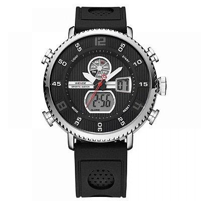 Relógio Masculino Weide Anadigi WH6106 Preto e Prata