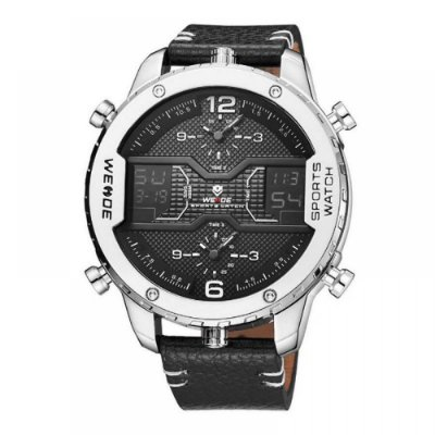 Relógio Masculino Weide Anadigi WH6401 Preto e Prata