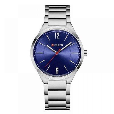 Relógio Masculino Curren Analógico 8280 - Prata e Azul