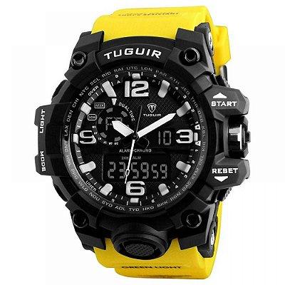 Relógio Masculino Tuguir Anadigi TG1155 Preto e Amarelo