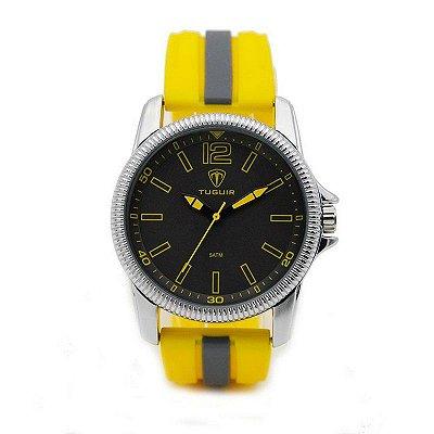 Relógio Masculino Tuguir Analógico 5017 Amarelo e Cinza