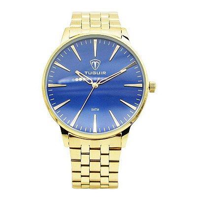 Relógio Masculino Tuguir Analógico 5273G - Dourado e Azul