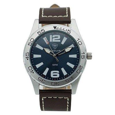 Relógio Masculino Tuguir Analógico 7018G Prata e Marrom