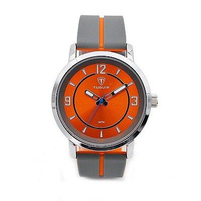 Relógio Masculino Tuguir Analógico 5016 Cinza e Laranja