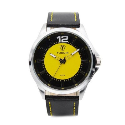 Relógio Masculino Tuguir Analógico 5018 Preto e Amarelo