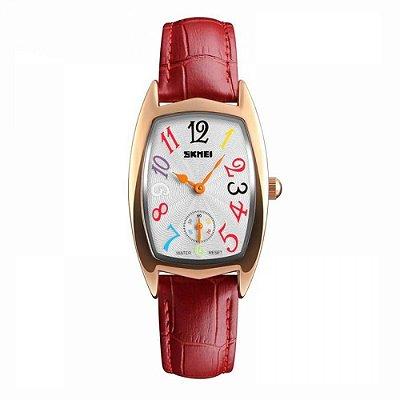 Relógio Feminino Skmei Analógico 1323 Rose e Vermelho