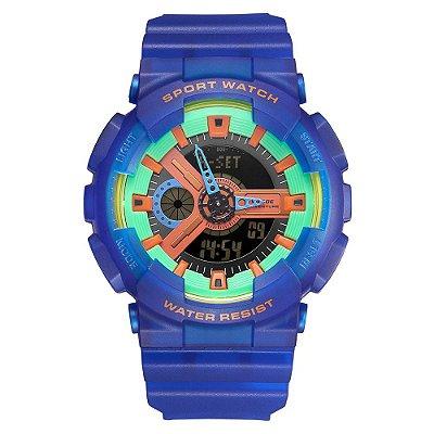 Relógio Masculino Weide AnaDigi WA3J8004 - Azul e Verde