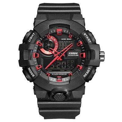 Relógio Masculino Weide AnaDigi WA3J8002 - Preto e Vermelho