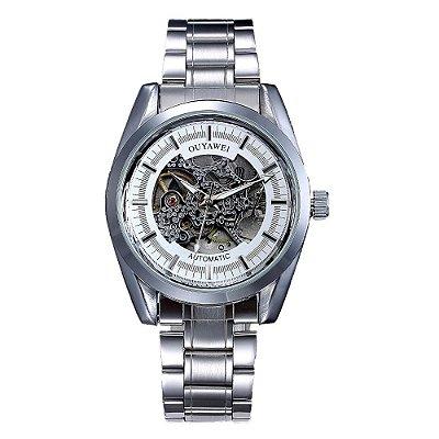 Relógio Automático Masculino Ouyawei Analógico - Prata