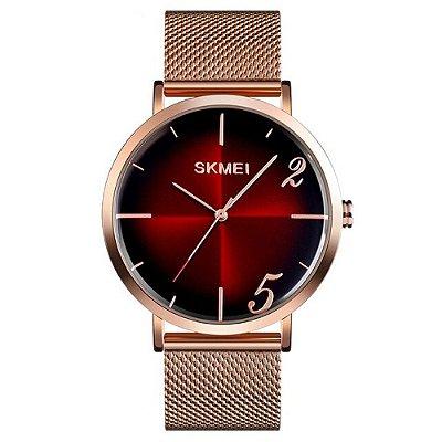 Relógio Feminino Skmei Analógico 9200 - Rosé e Vermelho