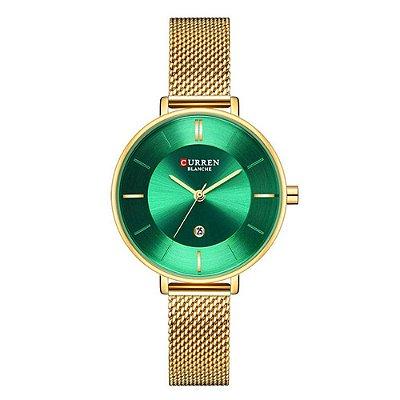 Relógio Feminino Curren Analógico C9037L - Dourado e Verde