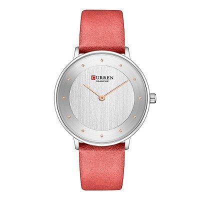 Relógio Feminino Curren Analógico C9033L - Prata e Vermelho