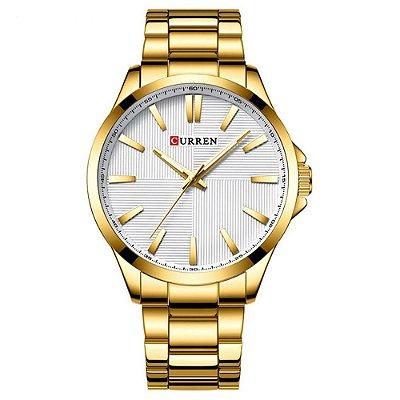 Relógio Masculino Curren Analógico 8322 - Dourado e Branco
