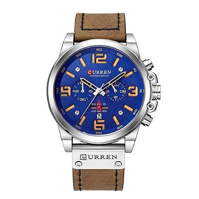 Relógio Masculino Curren Analógico 8314 - Prata e Azul