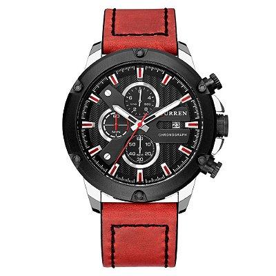 Relógio Masculino Curren Analógico 8308 - Preto e Vermelho