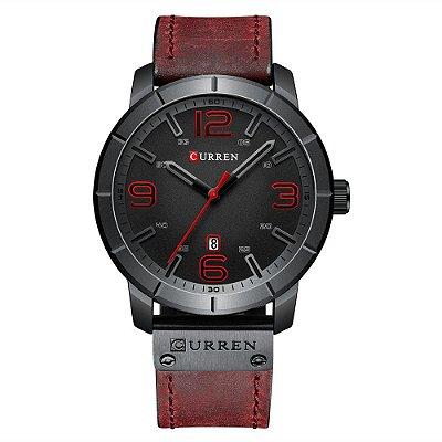 Relógio Masculino Curren Analógico 8327 - Preto e Vermelho