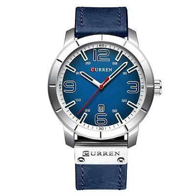 Relógio Masculino Curren Analógico 8327 - Azul e Prata