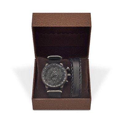 Kit Relógio Masculino Weide Analógico WH7306 com Pulseira de Couro