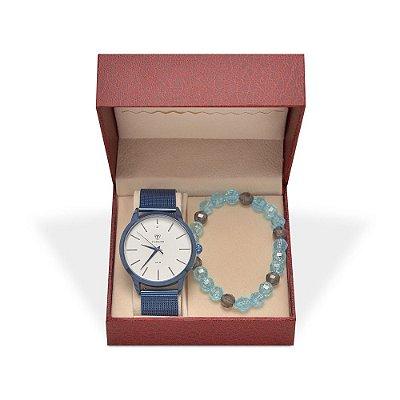 Kit Relógio Unissex Tuguir Analógico TG106 - Azul e Pulseira
