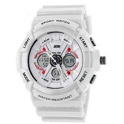 Relógio Masculino Skmei Anadigi 0966 Branco