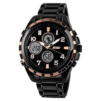 Relógio Masculino Skmei Anadigi 1021 Preto e Dourado