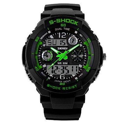 Relógio Masculino Skmei Anadigi 0931 Preto e Verde